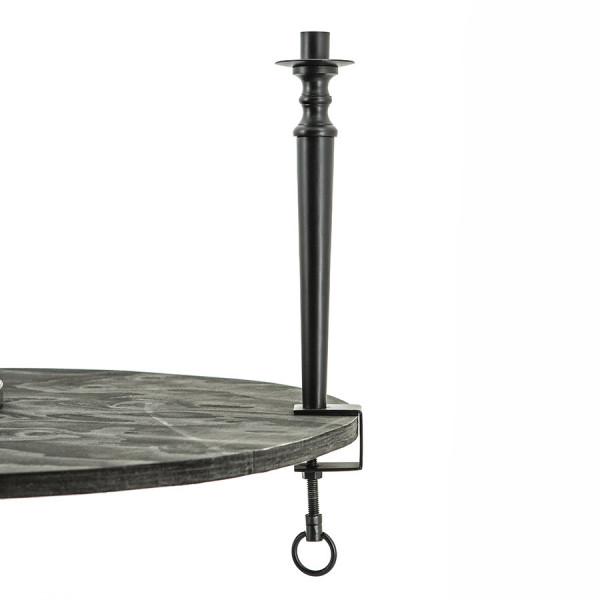 Suport lumanare din metal pentru masa, negru