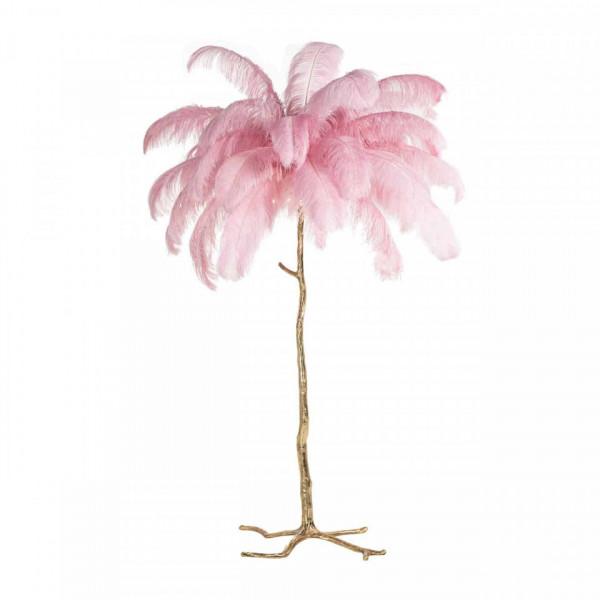 Lampadar din cupru/pene Burlesque roz, un bec