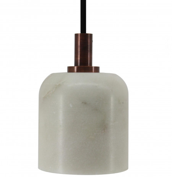 Lustra din fier galvanizat/marmură Sigma I alba, un bec