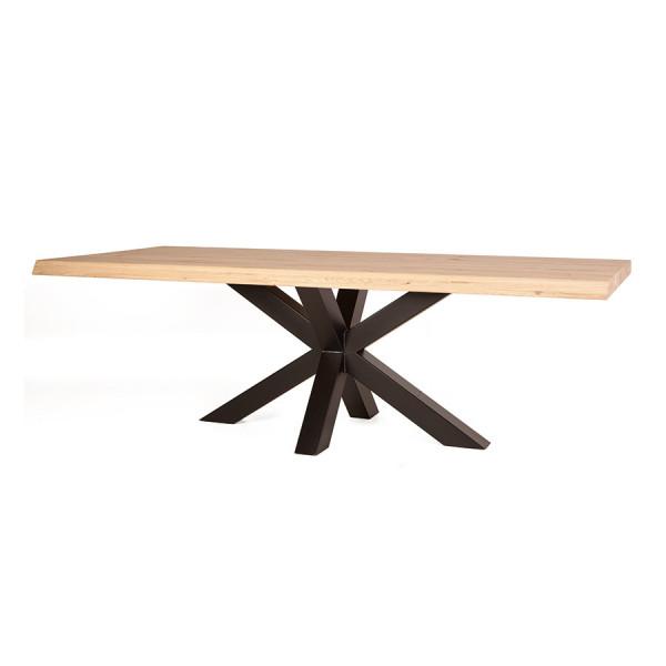 Masa dreptunghiulara cu blat din lemn de stejar 240x100x77 cm maro/negru