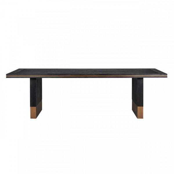 Masa dreptunghiulara cu blat din lemn de stejar Hunter 78 x 260 x 100 cm neagra/maro