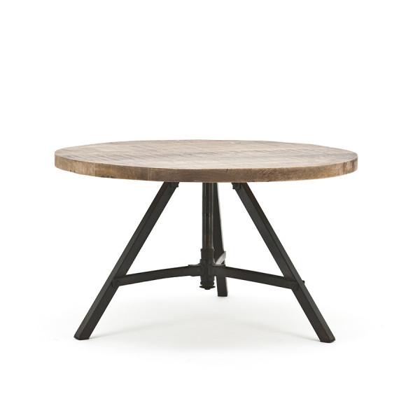 Masa rotunda cu blat din lemn de mango Discus 70x70x40 cm maro deschis/negru