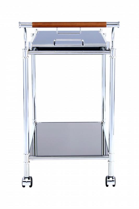 Masuta/Carucior pentru servire din sticla securizata James, 76,5x45,5x81 cm, negru/crom