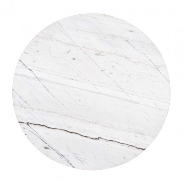 Set 2 masute de cafea rotunde din marmura si metal Lexington 45x60x60 cm albe