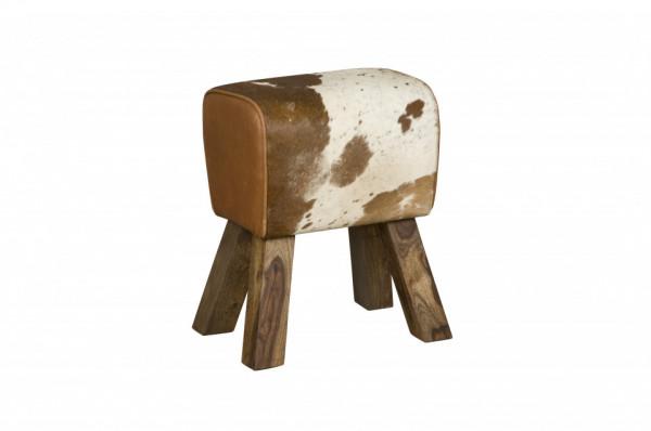 Taburet din piele de vaca Cowhide maro/alb