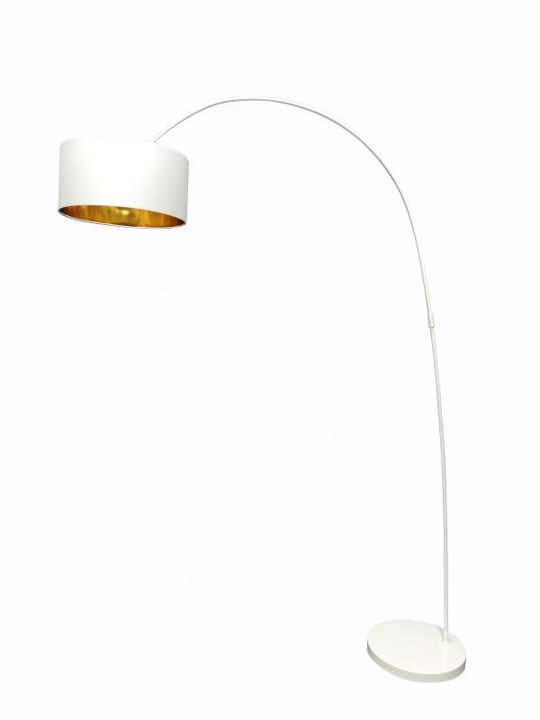 Lampadar din metal/tesatura alb 135 cm, 1 bec