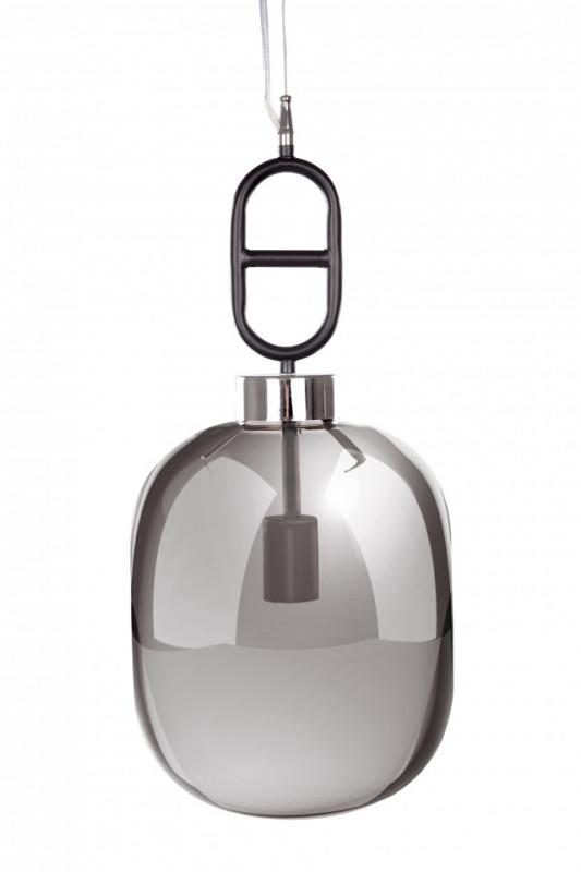 Lustra din sticla/metal Calai I gri/neagra , un bec