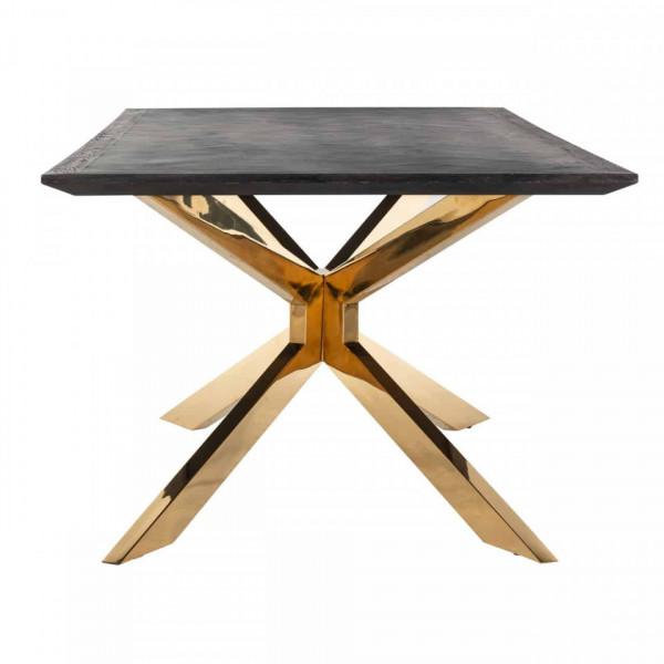 Masa dreptunghiulara cu blat din lemn de stejar Blackbone Matrix 75 x 200 x 100 cm gri inchis/auriu