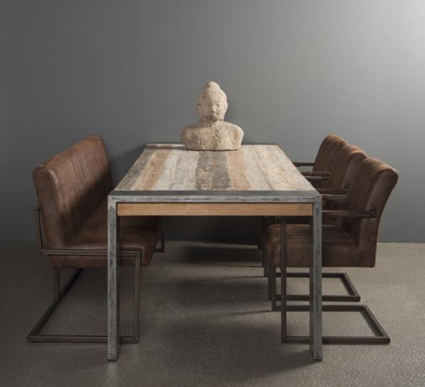 Masa dreptunghiulara cu blat din lemn de tec 180x100x78 cm maro/argintiu