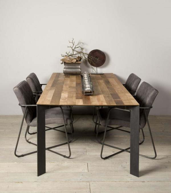 Masa dreptunghiulara cu blat din lemn de tec reciclat 180x90x78 cm maro deschis/argintiu