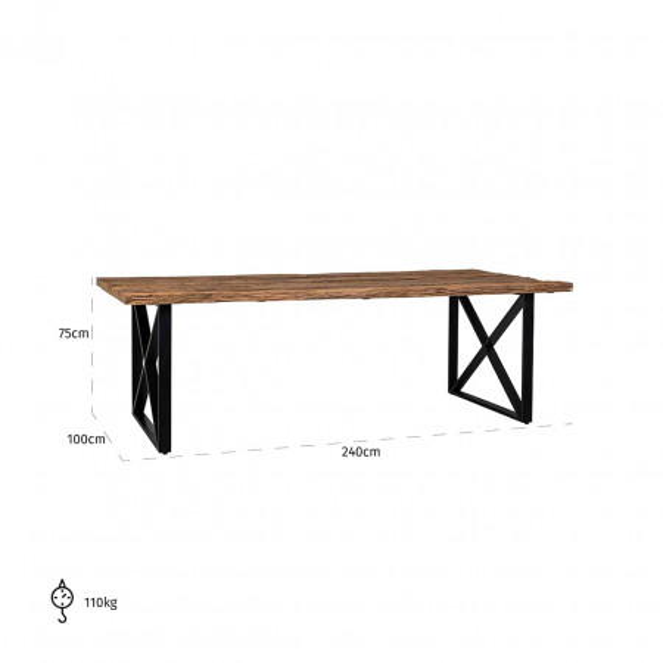 Masa dreptunghiulara cu blat din lemn de tec reciclat Industrial Kensington 75x240x100 cm