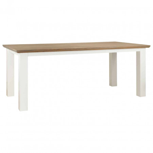 Masa dreptunghiulara din lemn de stejar Cardiff 77x160x90 cm alb/maro