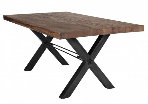 Masa dreptunghiulara din lemn de stejar Tables & Benches 200x100x76 cm maro inchis/negru