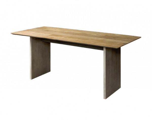 Masa dreptunghiulara din lemn de tec reciclat 240x100x76 cm maro/gri