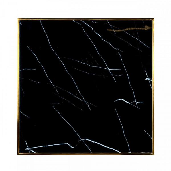 Masa patrata cu blat din sticla Osteria 75,5 x 70 x 70 cm negru/auriu