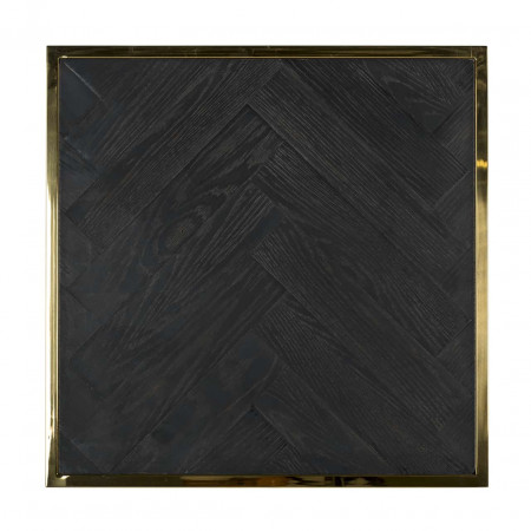 Masuta de cafea patrata din stejar si otel Blackbone 50x50x60 cm auriu/negru