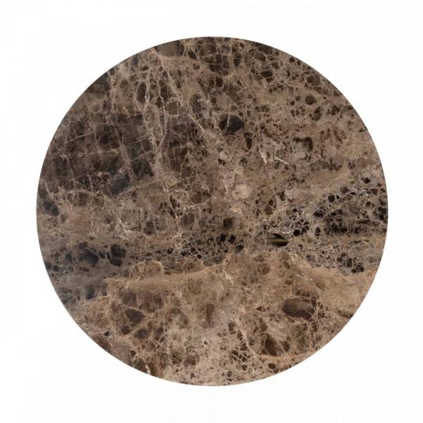 Masuta de cafea rotunda din marmura si metal Orion 40x80x80 cm maro