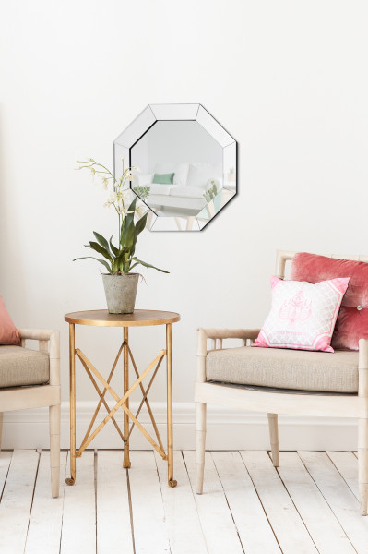 Oglinda cu rama din sticla argintie Kronos, aprox.4cm (L / D) x 60cm (W) x 60cm (H)