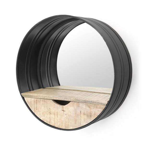 Oglinda rotunda cu rama din fier neagra, cu raft din lemn, 40 x 40 x 15 cm