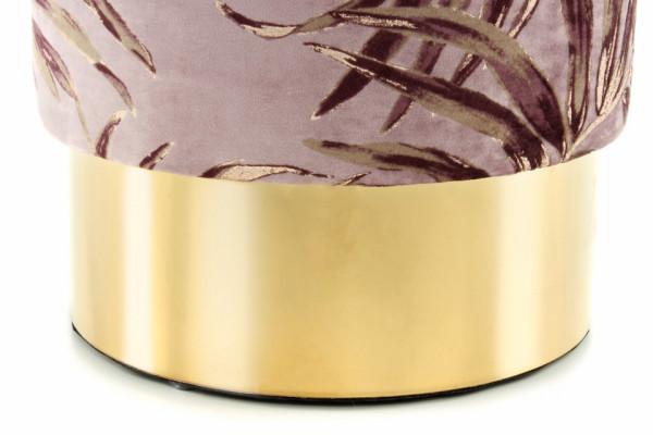 Puf/ Taburet tapitat cu imprimeu floral Gipsy violet/ auriu