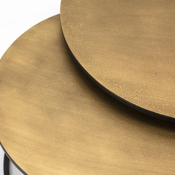 Set 2 masute de cafea rotunde din metal Setto 70x70x38 cm maro