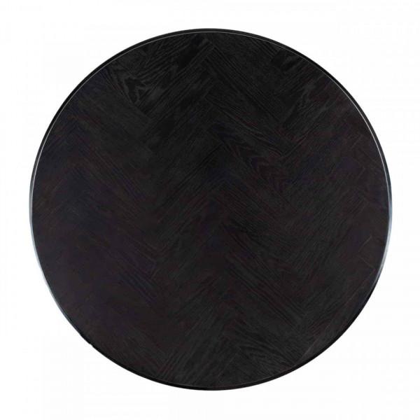 Set 2 masute de cafea rotunde din otel si stejar Blackbone 42x91,5x91,5 cm argintiu/negru