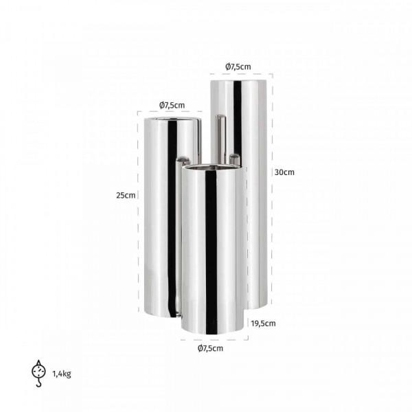 Set 3 suporturi lumanare din inox Melton, argintiu