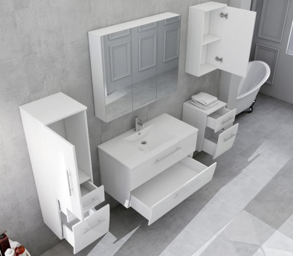 Set 5 piese mobilier pentru baie, alb, 90 cm