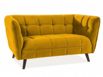 Canapea din catifea Castello galbena, 2 locuri