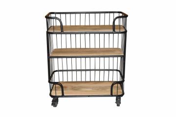 Carucior pentru servire din metal si lemn de mango THIS & THAT, 75x38x90 cm, negru