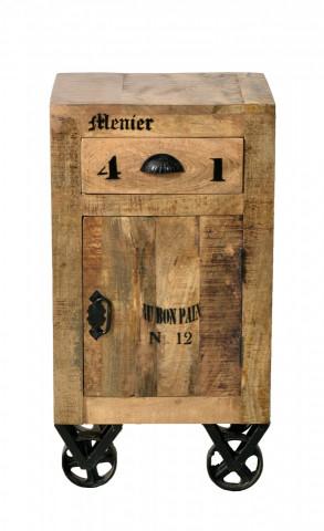 Comoda cu sertar din lemn de mango Rustic, maro, 82 cm