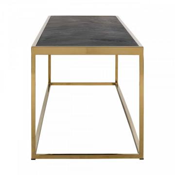 Consola din lemn de stejar si cadru din otel Blackbone 160x40 cm