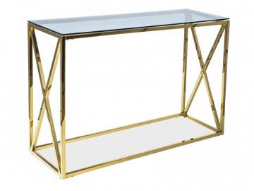 Consola din sticla cu cadru metalic auriu Elise 78 x 120 x 40 cm