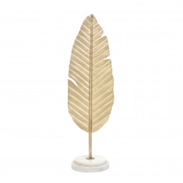 Decoratiune frunza din metal Amal, auriu / alb