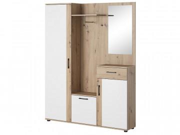 Dulap din lemn cu oglinda si cuier 184 x 145 x 29 cm maro / alb