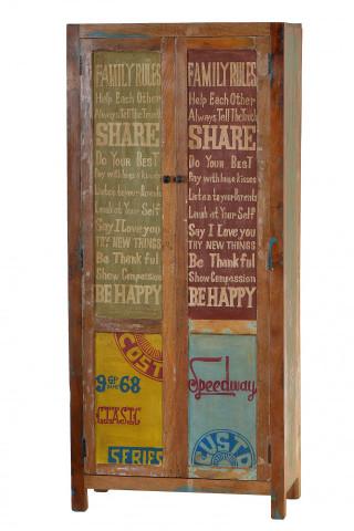 Dulap din lemn reciclat Speedway 80x180 cm multicolor