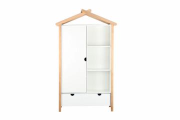 Dulap sub forma de casa din pin/MDF alb, 112x51x187 cm