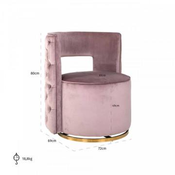 Fotoliu rotativ tapițat Jamie roz