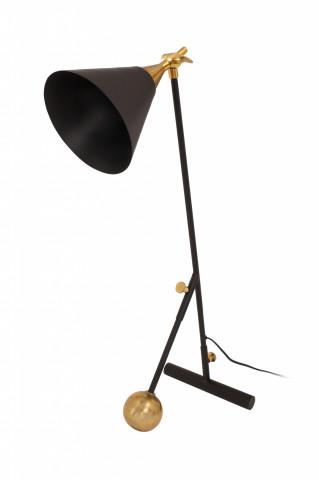 Lampa de birou din fier/alama/aluminiu Celeste, negru/auriu, un bec
