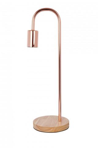 Lampa decorativa din metal/lemn Vinara roz / cupru, un bec