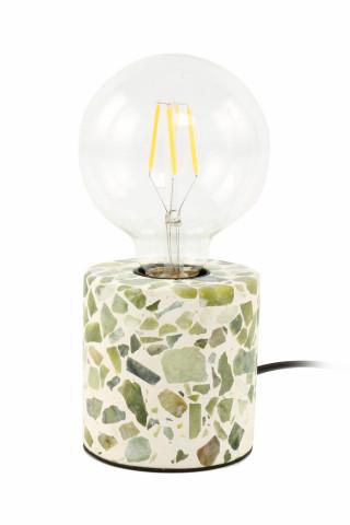 Lampa decorativa din mozaic Curacao alba/verde, un bec