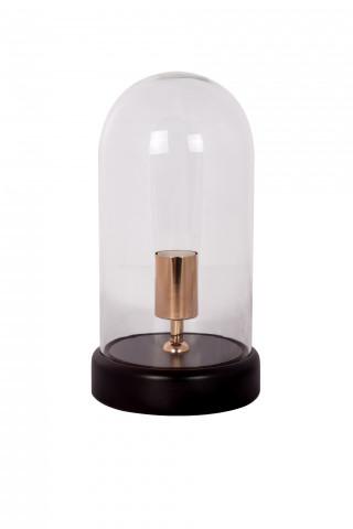 Lampa decorativa din sticla/lemn Ceti neagra, un bec