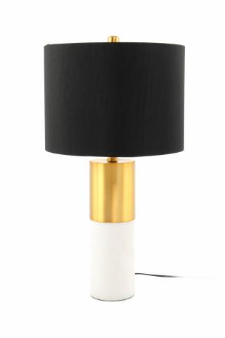 Lampa decorativa din tesatura/metal/marmura Orbit neagra /bronze/alba, un bec