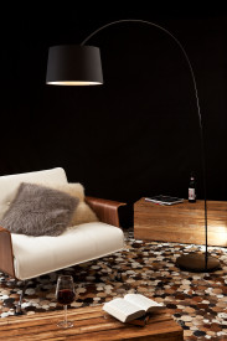 Lampadar din material textil/metal/marmura arc 205 cm neagru, un bec