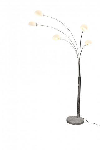 Lampadar din metal/marmura/sticla Five fingers 208 cm alb, 5 becuri