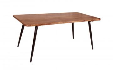 Masa dreptunghiulara cu blat din lemn de salcam 180x90x76 cm maro/negru