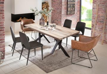 Masa dreptunghiulara cu blat din lemn de stejar si cadru metalic 200x100 cm alb/negru