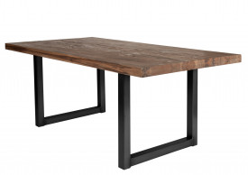 Masa dreptunghiulara cu blat din lemn de stejar Tables & Benches 180 x 100 x 76 cm maro inchis/negru