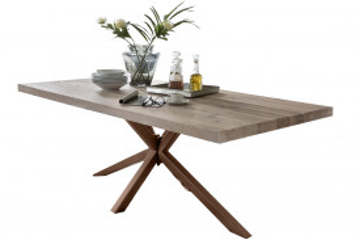 Masa dreptunghiulara cu blat din lemn de stejar Tables & Benches 240 x 100 x 76,5 cm maro deschis/maro inchis