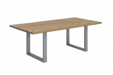 Masa dreptunghiulara cu blat din lemn de stejar Tables & Benches 140x80x76 cm maro deschis/ argintiu